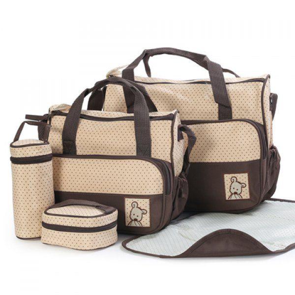 $25.83 Casual Color Matching and Bear Cub Design Women's Diaper Bag