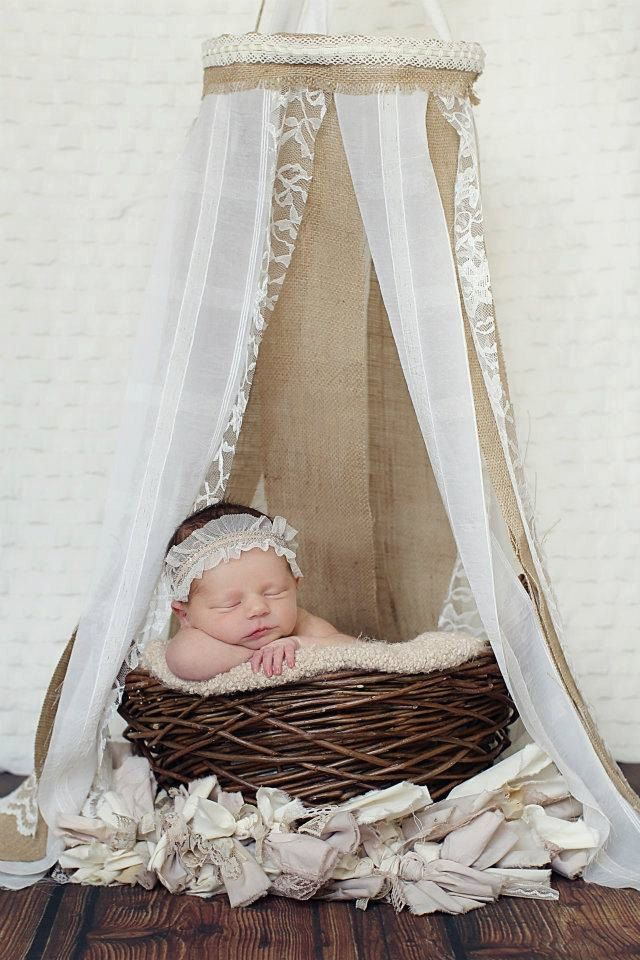 Newborn Canopy - Burlap and Lace Newborn Canopy, Hanging Fabric Canopy Prop. $40.00, via Etsy.