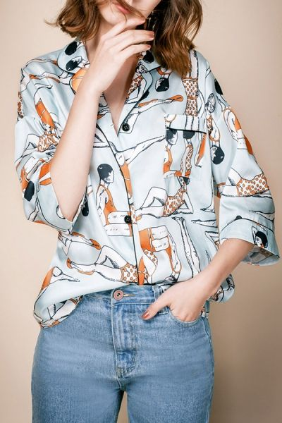 Liang.ss Floral Boyfriend Style Drop Shoulder Shirt | Blouses at DEZZAL