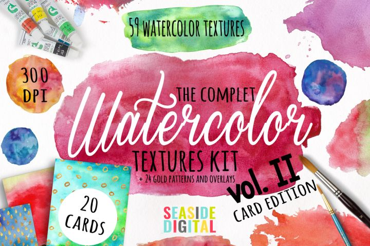 Here is a great watercolor texture kit, with 59 original textures, PNG and JPEG, 20 ready to print format card templates JPEG, 2 PSD card templates and 24 gold foil patterns and overlays to mix and match your designs.  The designs are easy to use in almost every photo/image editor software (except the 2 PDS templates that are only for Adobe Photoshop).