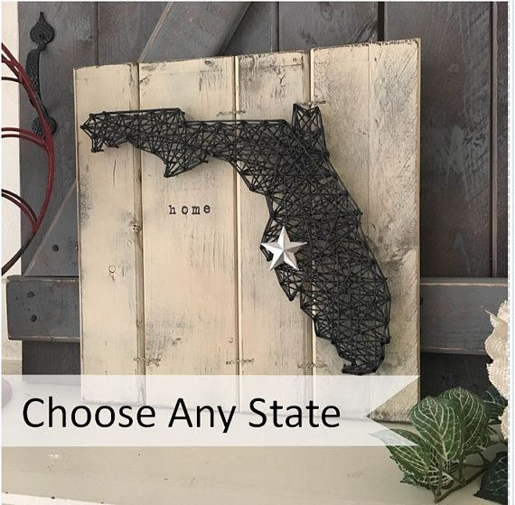 STATE WALL ART, State String Art, Wood State Art, Florida string art, Texas string art, Vermont string art, Any state string art
