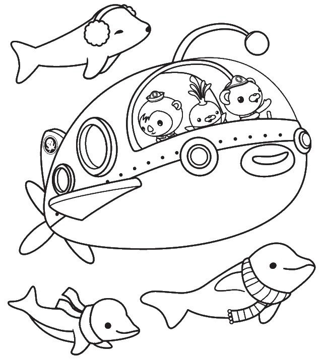 Simple Octonauts Coloring Page For Kids Coloring Books Cartoon