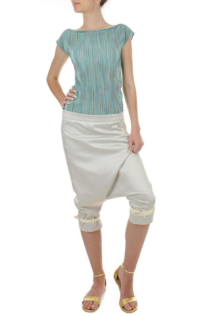 Pantaloni largi cu detalii piele ecologica
