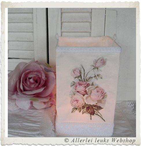 VOORBEELD Papieren lantaarn waxinelicht  houder vintage flowers - Allerlei leuks nostalgische hobbymaterialen en decoratie