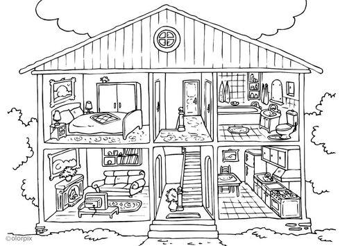 Kleurplaten Mijn Huis.Kleurplaat Huis Binnenkant Auto Electrical Wiring Diagram