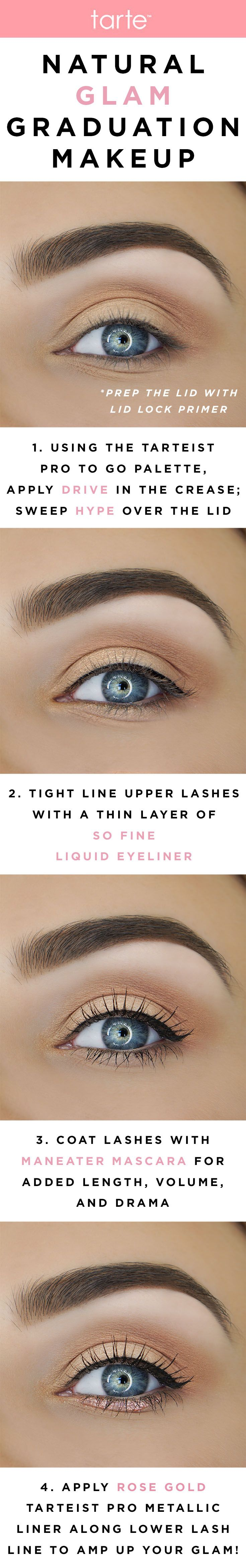 A step-by-step tutorial on creating the perfect natural glam eye look for graduation! #tartecosmetics #classof2017