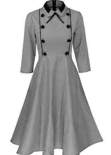 Vintage 50s Style Gingham Print Swing Dress