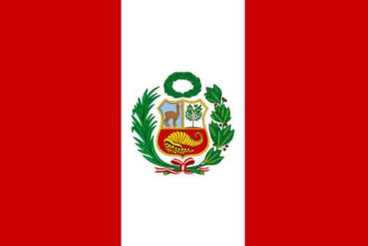 Bandeira do Peru. (O vermelho significa paz e honestidade, o vermelho o sangue derramado has guerras. Foi adotada em 25 de fevereiro de 1825)
