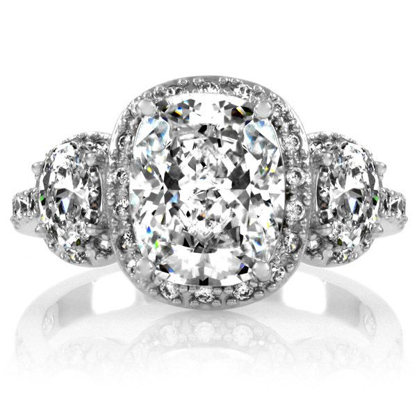 Moonlit Bridals - Emily CZ Engagement Ring, $95.00 (http://www.moonlitbridals.com/emily-cz-engagement-ring/): Ideas, Stones Halo, Cushions Cut Engagement, Future Husband, Halo Cushions, Cut Cz, Cushion Cut Engagement, Engagement Rings Cushions, Emily