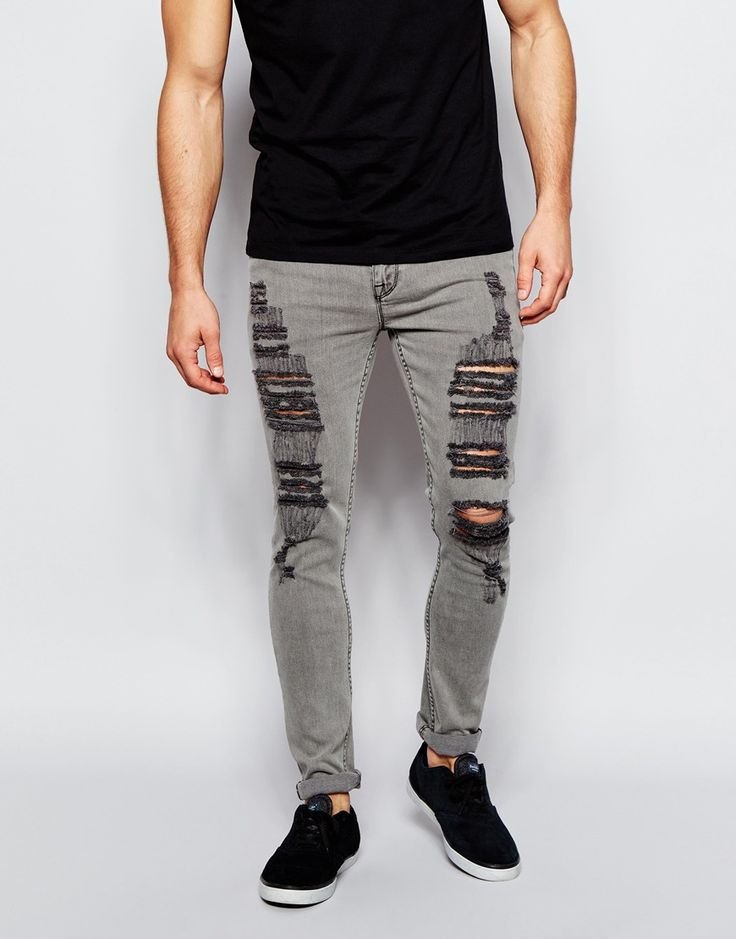 Image 1 of ASOS Super Skinny Jeans With Extreme Rips In Light Gray