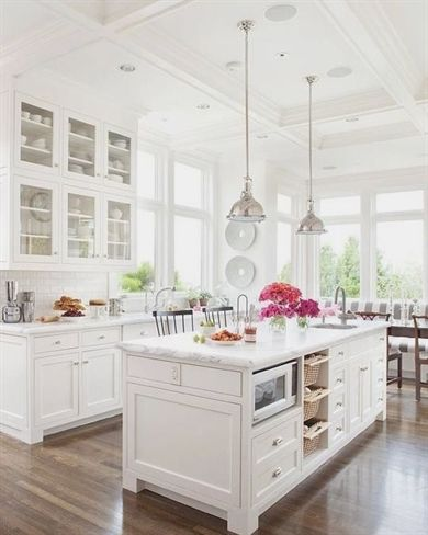 2 with the white tile white cabinets marble counters and tall rh pinterest com