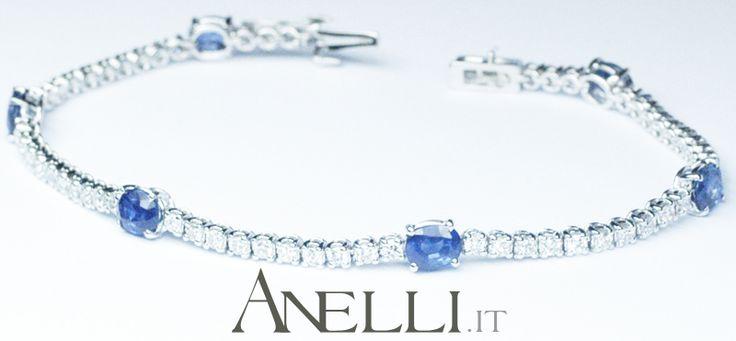 Un elegantissimo bracciale tennis con diamanti e zaffiri naturali...