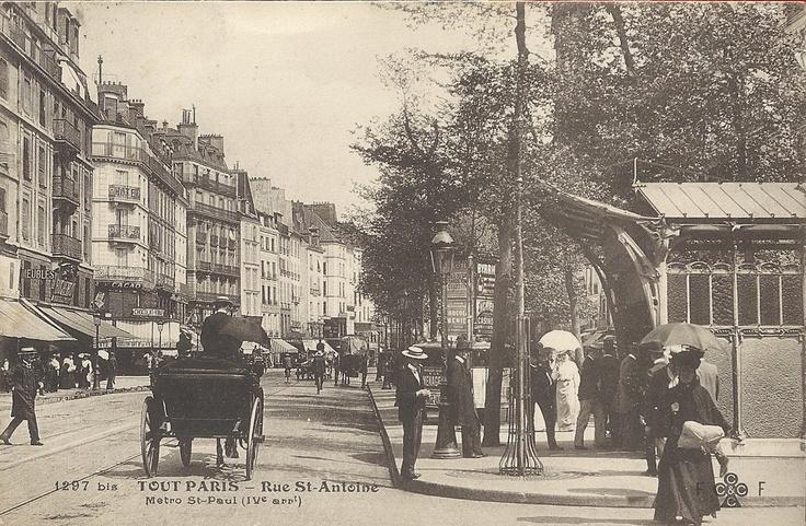 métro St Paul IV-  Métro Paris - Ligne 1 - Edicule Guimard - Station Saint-Paul - Rue de Rivoli - Saint-Antoine