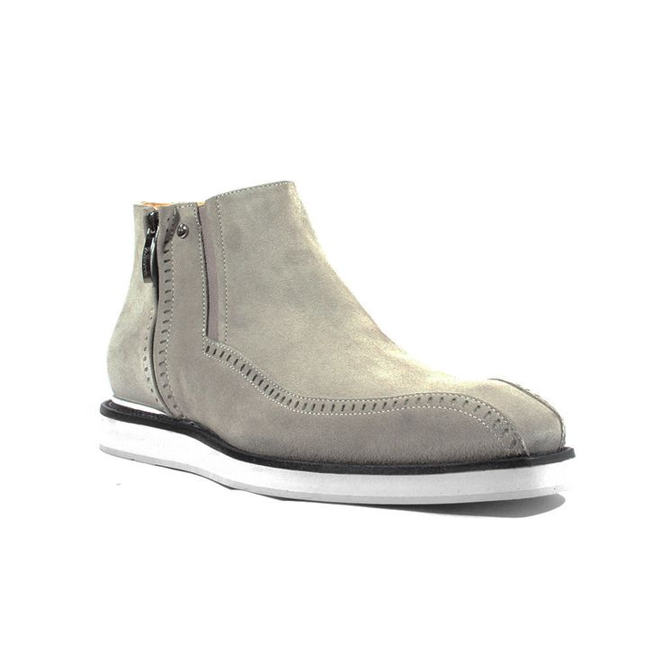 Cesare Paciotti Italian Mens Shoes Vit Camoscio Fumo Grey Suede Boots (CPM2637)
