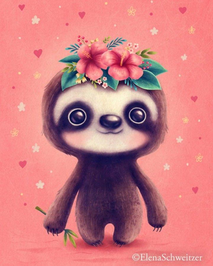 My Cute Sloths With New Backgrounds W Sloth Cutesloth Illustration Digitalillustration Illustratorsoninst Cute Art Cute Cartoon Drawings Cute Drawings