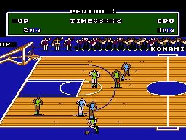 Double Dribble. Yes, there were only, like, four primary color teams. No, it did not cut into the hours and hours we spent playing it. I remember pausing this one and taking Kodak instamatic shots of the screen... To be developed (badly) days later. Stone ages.