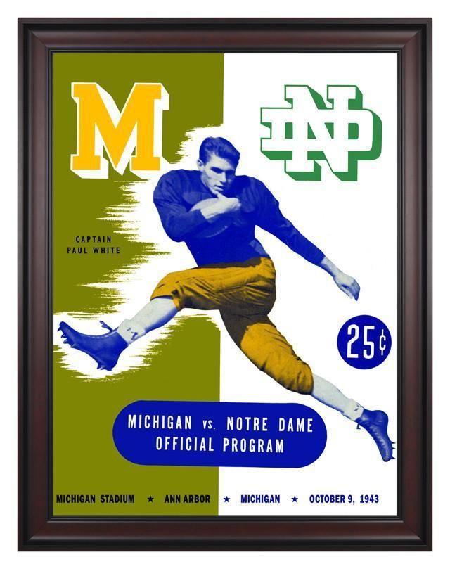 1943 Michigan Wolverines vs Notre Dame Fighting Irish 30 x 40 Framed Canvas Historic Football Poster