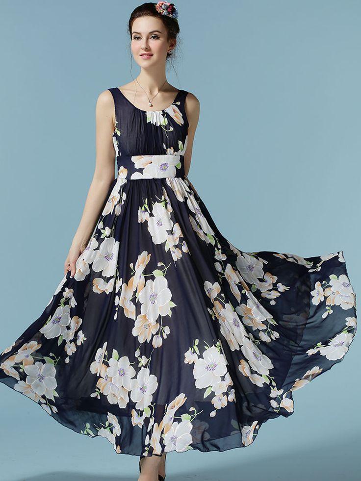 Navy Narcissus Print Ruched Sleeveless Maxi Dress   Choies