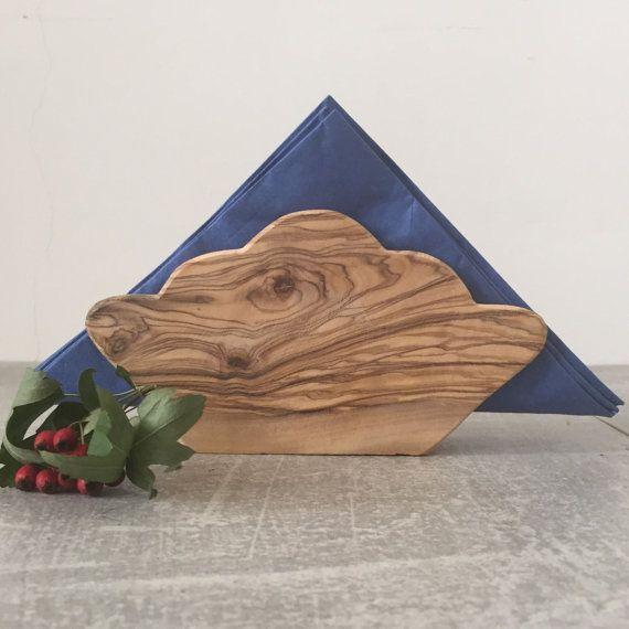 Olive Wood Napkin Holder Rustic Napkin Holder Letter Holder