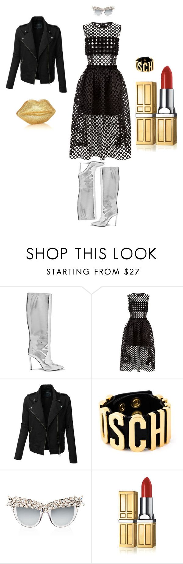 """June"" by wildpatchouli on Polyvore featuring Balenciaga, Paskal, LE3NO, Moschino, Anna-Karin Karlsson, Lulu Guinness, Elizabeth Arden, chic and rockerstyle"