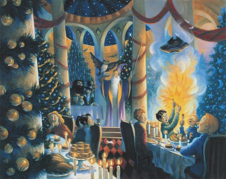 Harry Potter - Christmas in the Great Hall - Mary GrandPre - World-Wide-Art.com - #harrypotter #jkrowling #marygrandpre