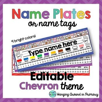 Name Tags, Name Plates, or Desk Plates.  This product has 7 different EDITABLE name tags or name plates to use on your student's desks.  This is a EDITABLE PDF.  Simply click on the name tag and type your student's names.  The font included is KG Miss Kindergarten to match the rest of the name tag.