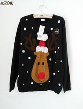 Lights Up Rudolph the Red Nose Reindeer Wearing Christmas Hat Ugly Christmas Sweaters for Women Festival Pullovers S-XL(China (Mainland))