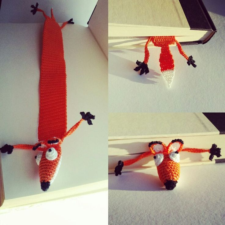 I made a crochet fox bookmark by slightly altering this awesome pattern: http://www.supergurumi.com/amigurumi-crochet-rat-bookmark