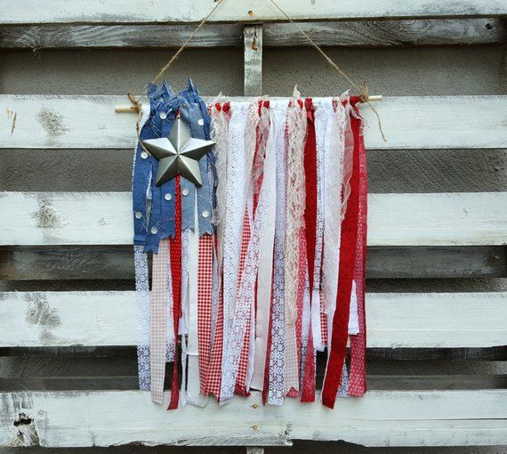 American Flag Fabric Garland, Fabric Banner, Rag Tie Garland, 4th of July Decor, Patriotic Decor, Americana Decor, Wall Hanging, Home Decor