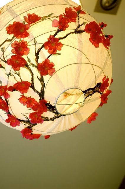 flower-adorned, ikea, paper globe lamp. beautiful.