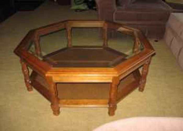 Octagon coffee table wood glass coffee table and 2 end for Octagon glass top coffee table
