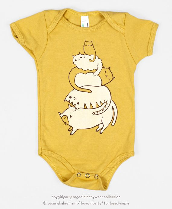 Cats are piled atop this onesie! Original artwork silkscreened onto super soft, organic cotton baby bodysuits. This is part of the boygirlparty babywear collection by Susie Ghahremani / boygirlparty®