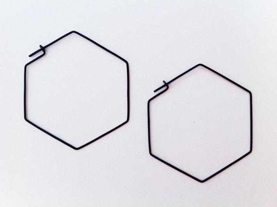 laminar | silver hexagonal earrings
