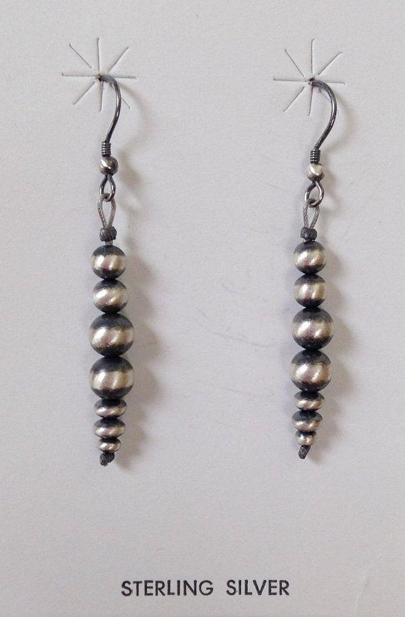 Native American Navajo Pearl  Sterling Silver Earrings
