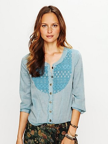 or blue with lace bib