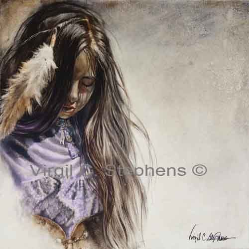 My Purple Dress, Native American Indian girl, southwestern artwork | Virgil_C_Stephens-Notevena_Gallery - Print on ArtFi