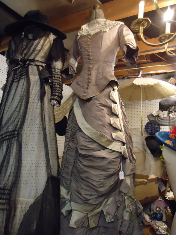 vintage victorian womens wedding dress 1870's