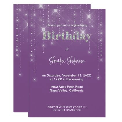 Glitter pattern Birthday Invitation - birthday cards invitations party diy personalize customize celebration
