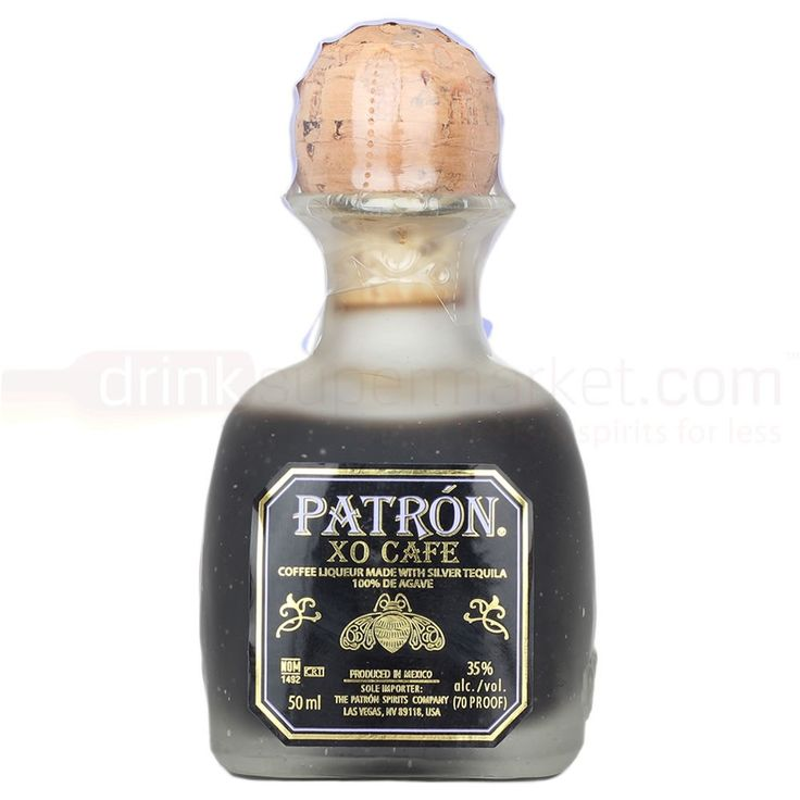 5cl Produced in Mexico, Patron XO Café, is an exquisite blend of premium Patron Silver tequila and pure natural essence of the finest coffee with a rich tasting, smooth yet dry finish.
