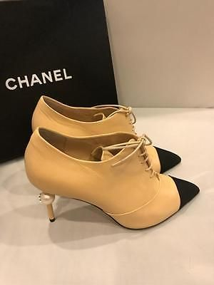 93058999fb65 CHANEL 16A Two Tone Leather Pearl Heel Lace Up Ankle Booties Boots Beige  Black
