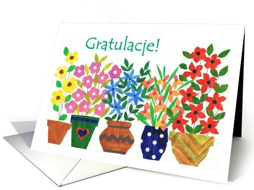 Polish Greeting Congratulations Card Flower Up To 3 50