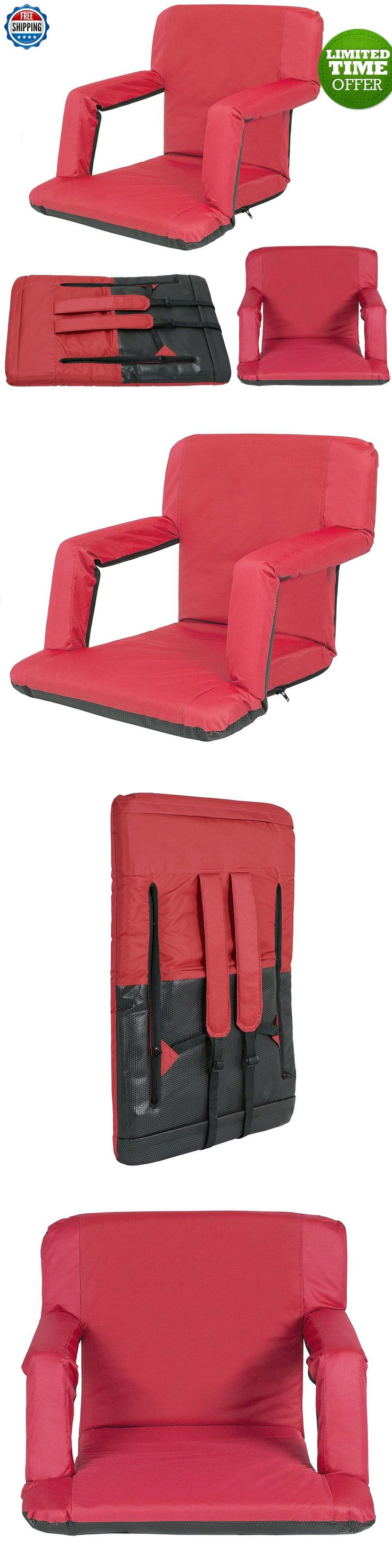 Other Outdoor Sports 159048: Padded Stadium Chair Reclining Seat Red Portable Bleacher Cushion Bench Camping BUY IT NOW ONLY: $49.75