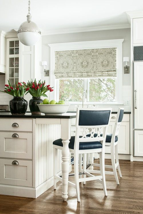 White Island with black top & Black & white chair's, stainless steel drawer pulls. hickory chair barstools quadrille Roman shade kitchen hicks pendant