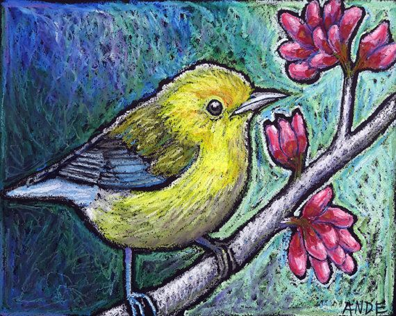 Original Bird Painting -5x7 Archival Print- Prothonotary Warbler by AndeHallFineArt, $12.00