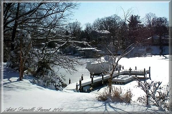 Snow On Chesapeake Bay MD USA beautiful and dreamy with snow covered boats, boatramps  and trees the day after the storm. $22.00