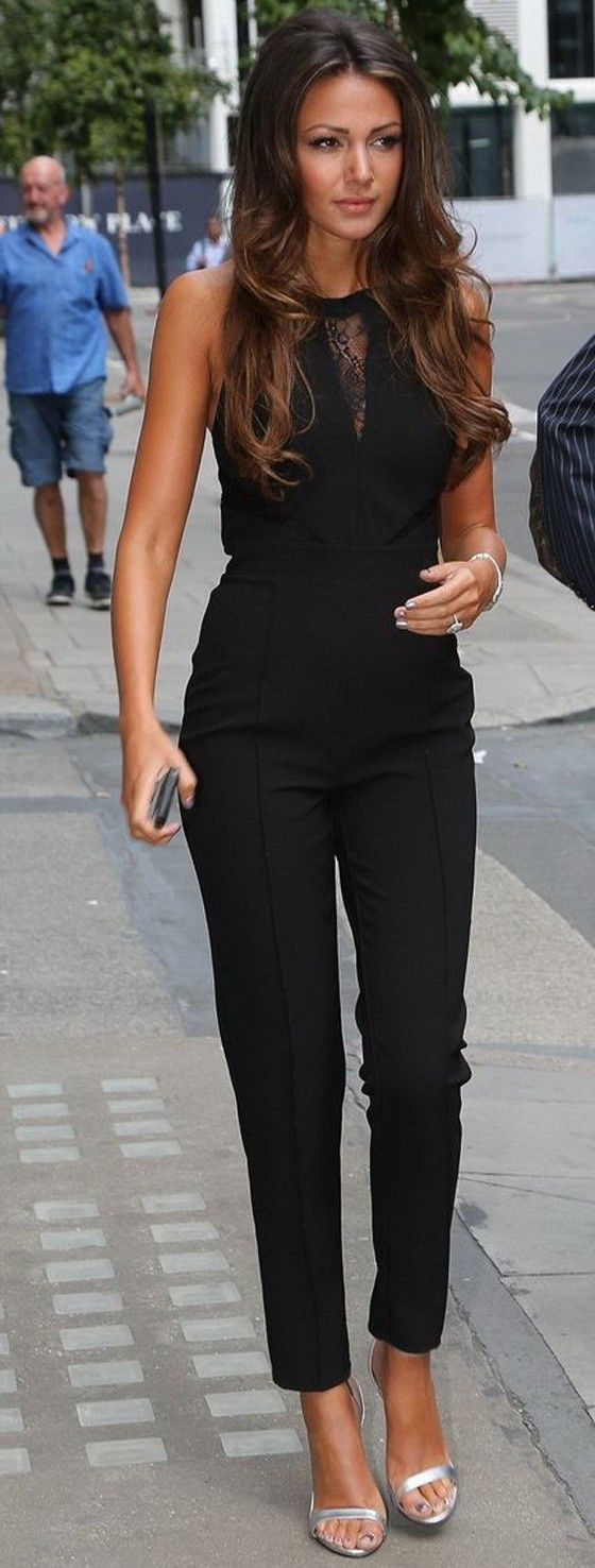 Black High Waisted Sleeveless Celeb Michelle Keegan Black Lace Slim Jumpsuit - Jumpsuit Pants - Bottoms