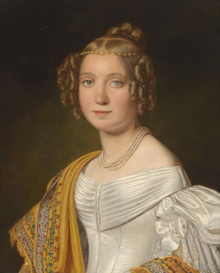 1836, Portrait of a Young Lady in a White Dress, by Joseph Bernhardt