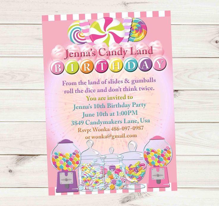 Candy Land Candy Party Birthday Invitation - Custom Printable
