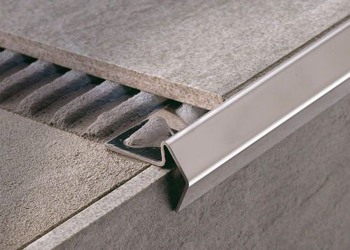 how to do stair nose edges with tile or other flooring.....Stainless steel stair nosing STAIRTEC FL PROFILITEC