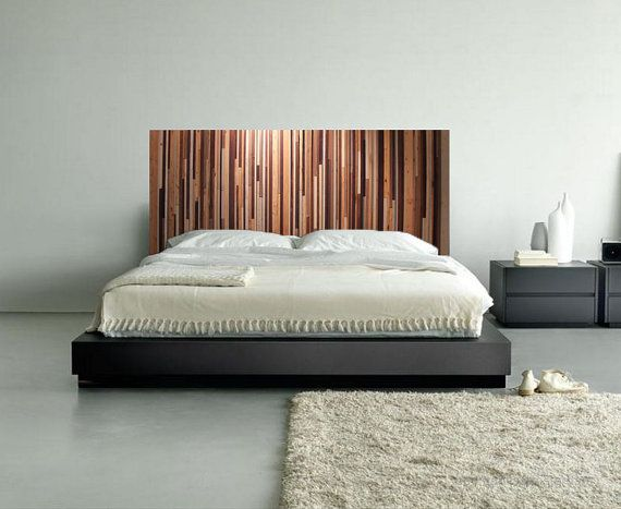 Lovely Modern Reclaimed Wood Wall Art   Wood King Headboard In Browns, Tan, Cream  And Gray Stripes